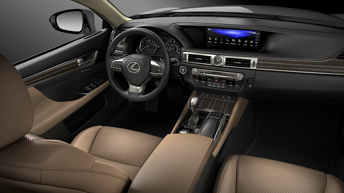 Interior shot of the 2018 Lexus GS shown with leather trim