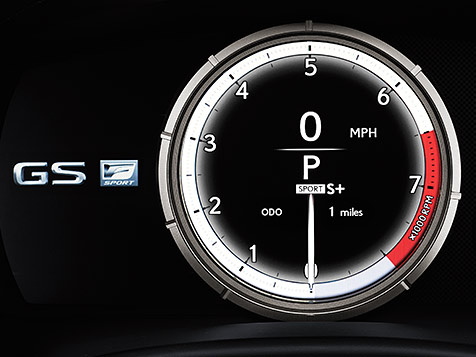 Performance-Inspired instrumentation shown inside the Lexus GS F SPORT.