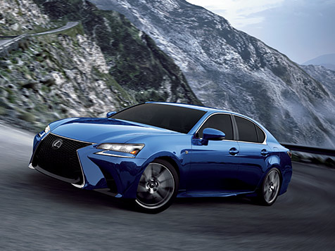 Exterior shot of the 2019 Lexus GS shown in Ultrasonic Blue Mica 2.0