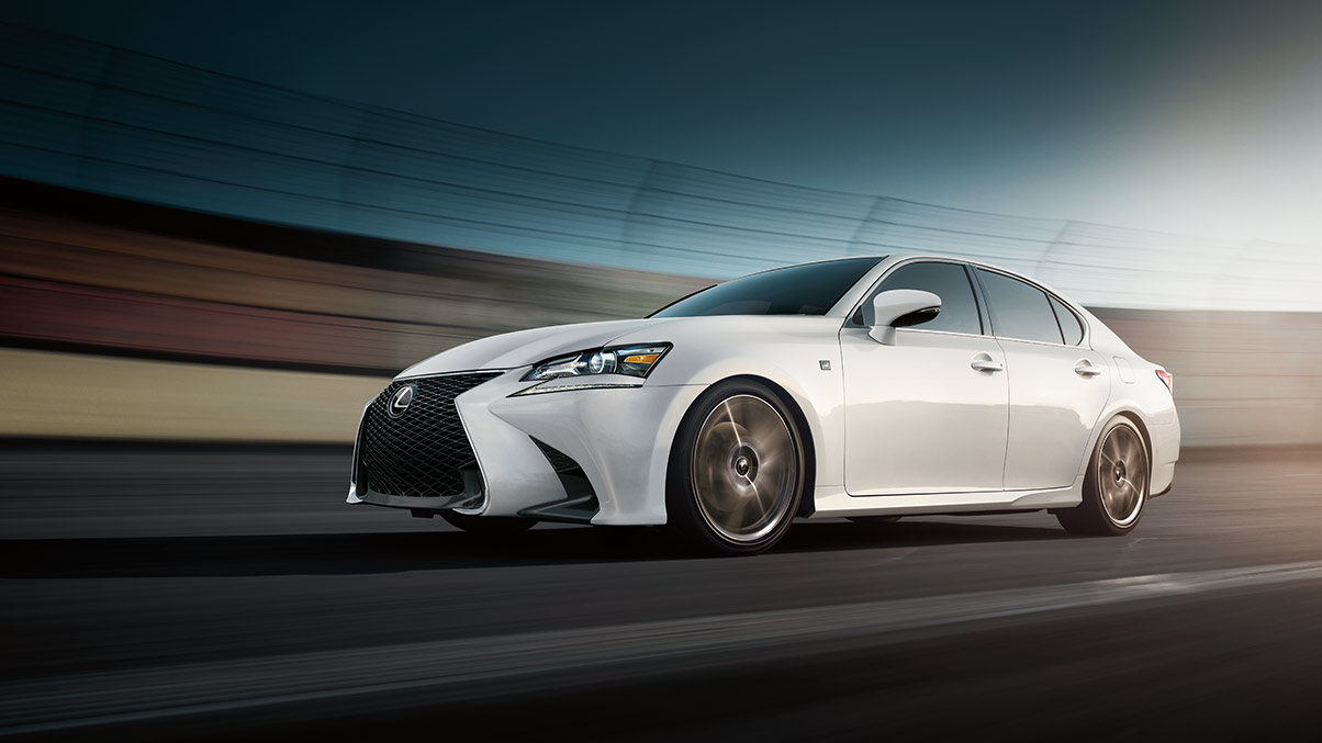 Exterior shot of the 2019 Lexus GS F SPORT shown in Ultra White