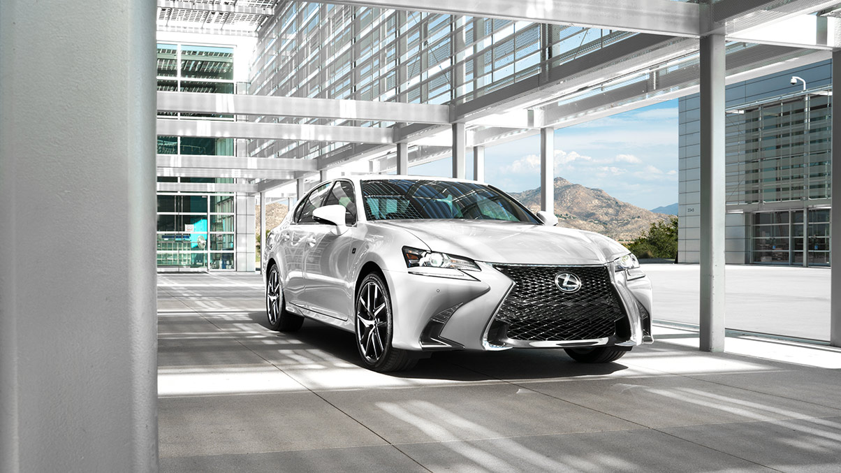 Exterior shot of the 2019 Lexus GS F SPORT shown in Ultra White.