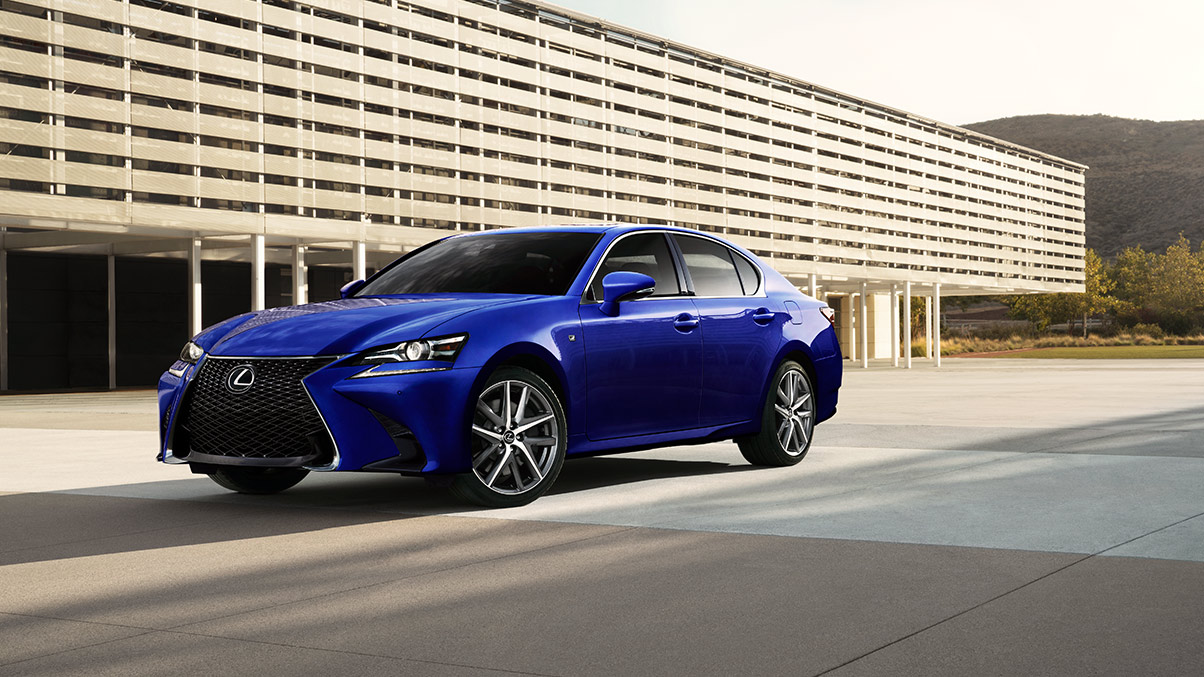 Exterior shot of the 2019 Lexus GS F SPORT shown in Ultrasonic Blue Mica 2.0