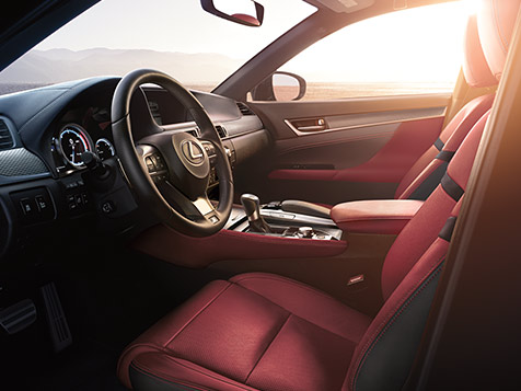 Interior shot of the 2019 Lexus GS F SPORT shown with leather trim