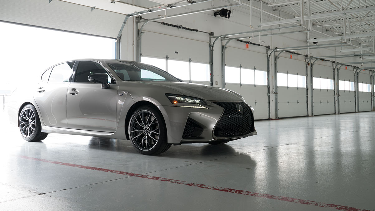Exterior shot of the 2018 Lexus GS F shown in Atomic Silver.