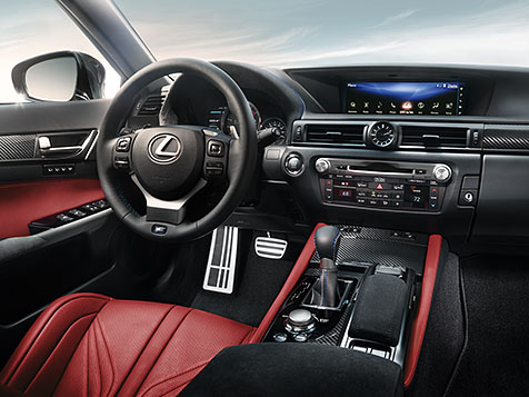 Interior shot of the 2018 Lexus GS F shown with Circuit Red leather trim.