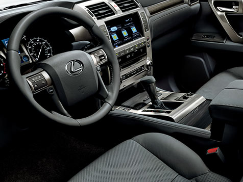 Interior shot of the 2018 Lexus GX 460 shown with Black NuLuxe trim.