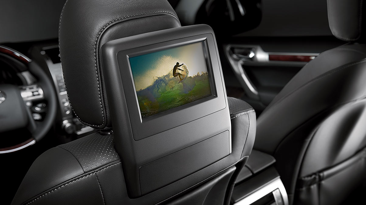 Interior shot of the 2019 Lexus GX 460 rear-seat entertainment system.