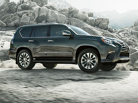 Exterior shot of the 2018 Lexus GX 460 shown in Nebula Grey Pearl.