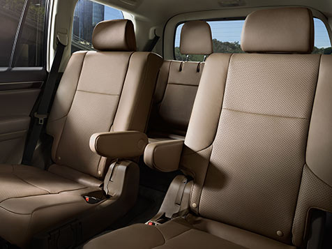 Interior shot of the 2019 Lexus GX with Sepia leather trim.