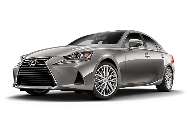 Exterior shot of the 2019 Lexus IS shown in Silver Lining Metallic.