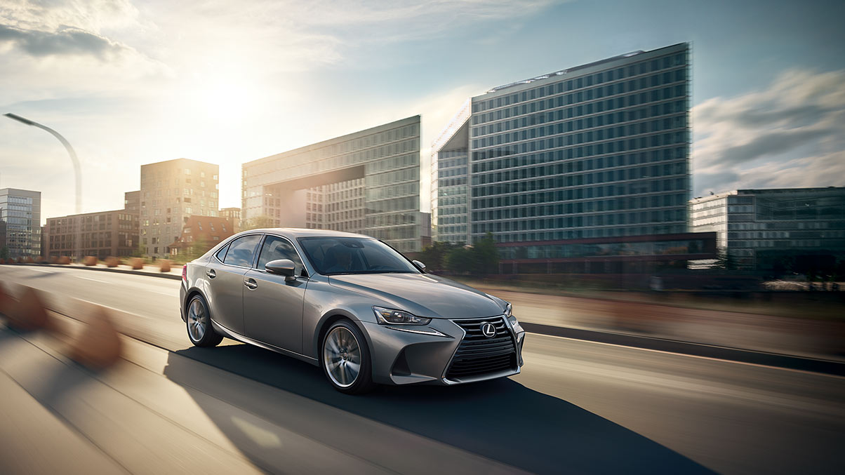 Exterior shot of the 2019 Lexus IS shown in Atomic Silver.