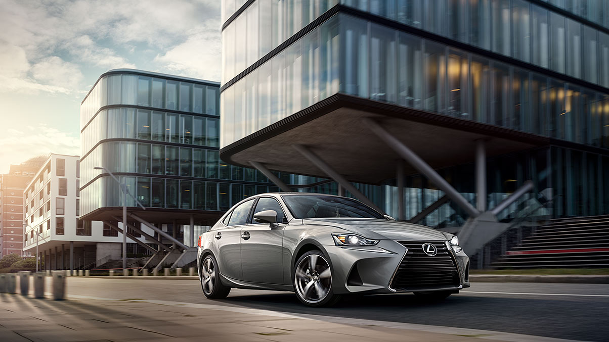 Exterior shot of the 2018 Lexus IS shown in Silver Lining Metallic.