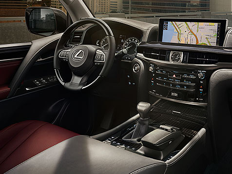Interior shot of the 2018 Lexus LX in available Cabernet semi-aniline leather interior trim.