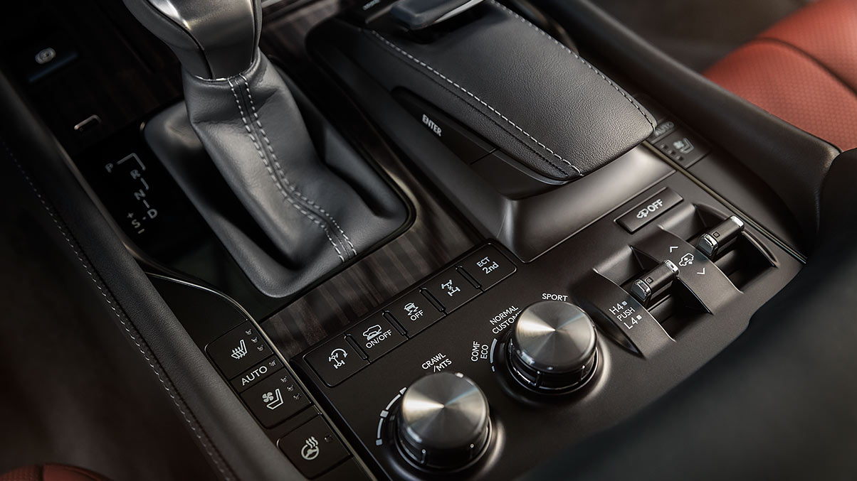 Interior shot of the Lexus LX capability controls.