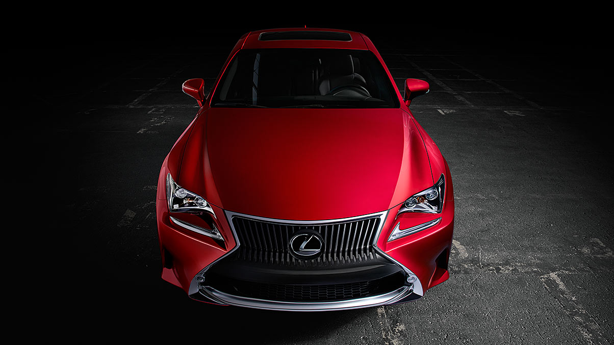 Exterior shot of the 2018 Lexus RC 350 shown in Infrared