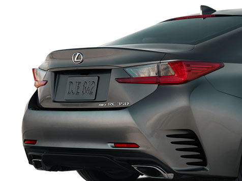 Exterior shot of the 2018 Lexus RC 350 shown in Nebula Gray Pearl