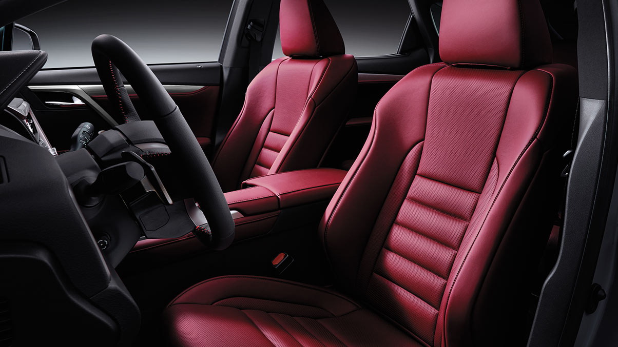 Interior shot of the 2019 Lexus RX F SPORT shown with Rioja Red leather trim.