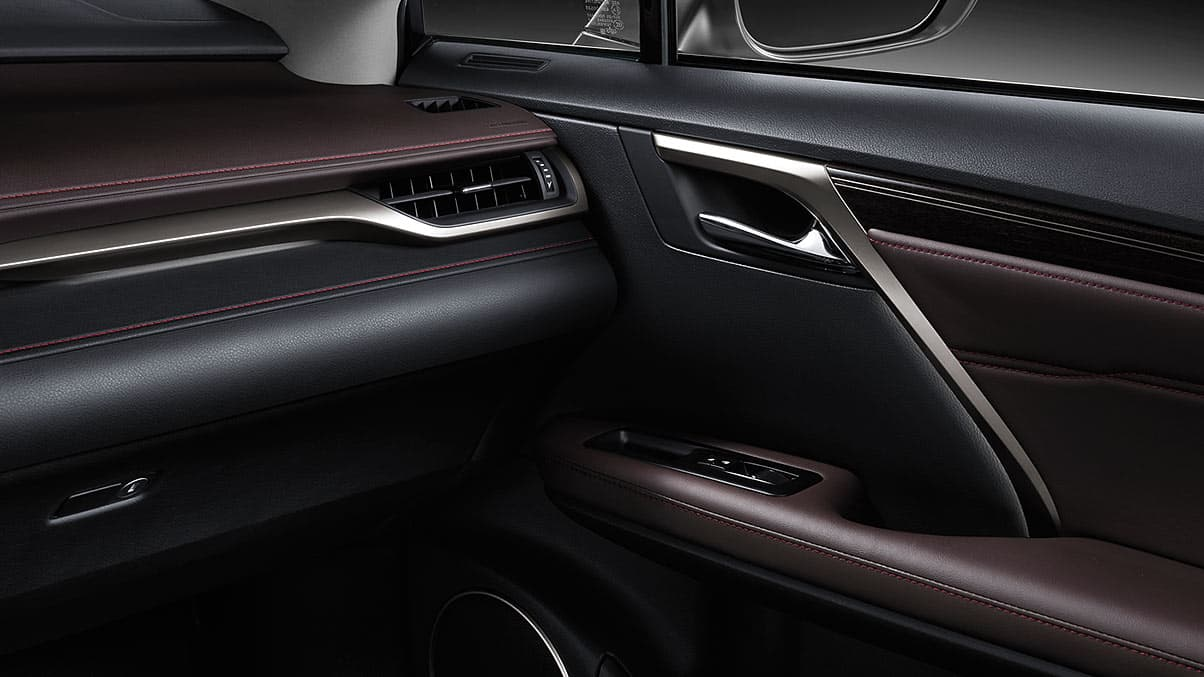 Interior shot of the 2019 Lexus RX Hybrid shown with available Noble Brown leather trim