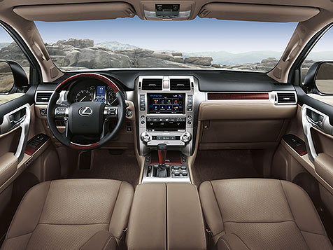 Interior shot of the 2018 Lexus GX 460 shown with Sepia leather trim.
