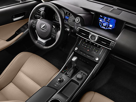 Interior shot of the 2018 Lexus IS shown with Chateau NuLuxe trim.