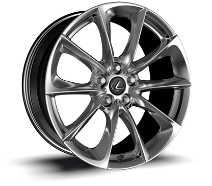 20-inch 10-spoke forged alloy wheel with polished finish.