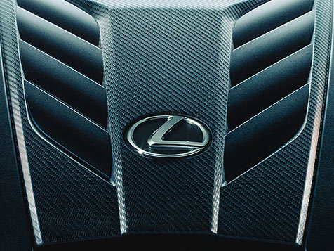 Detail shot of the LC 500 naturally aspirated 5.0-liter V8 with 471 horsepower.