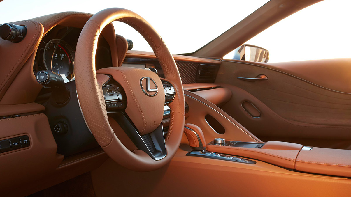 Interior of the Lexus LC 500h shown with Toasted Caramel leather interior trim.