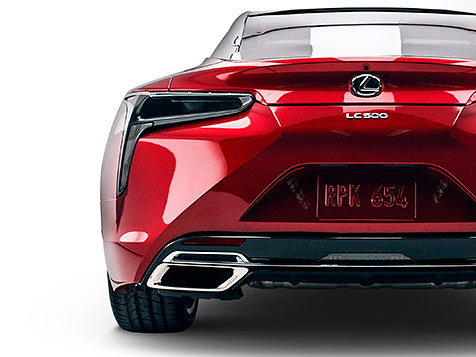 Rear shot of the LC 500 shown in available Infrared.