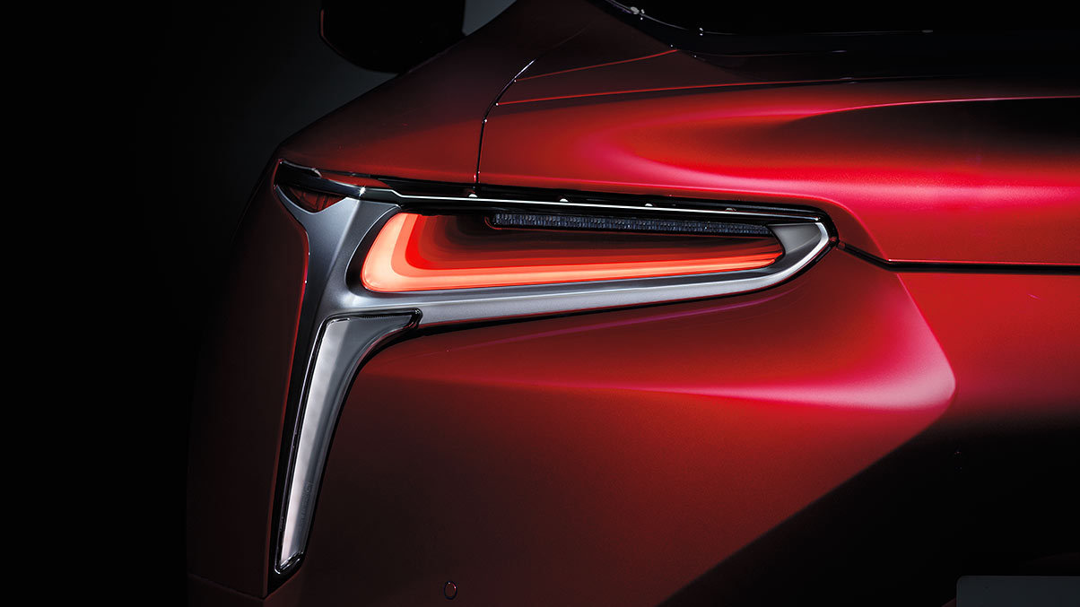 Rear detail shot of the Lexus LC 500 featuring the LED taillamps.