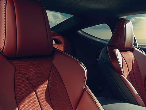 Interior of the LC 500 shown with Rioja Red leather interior trim.