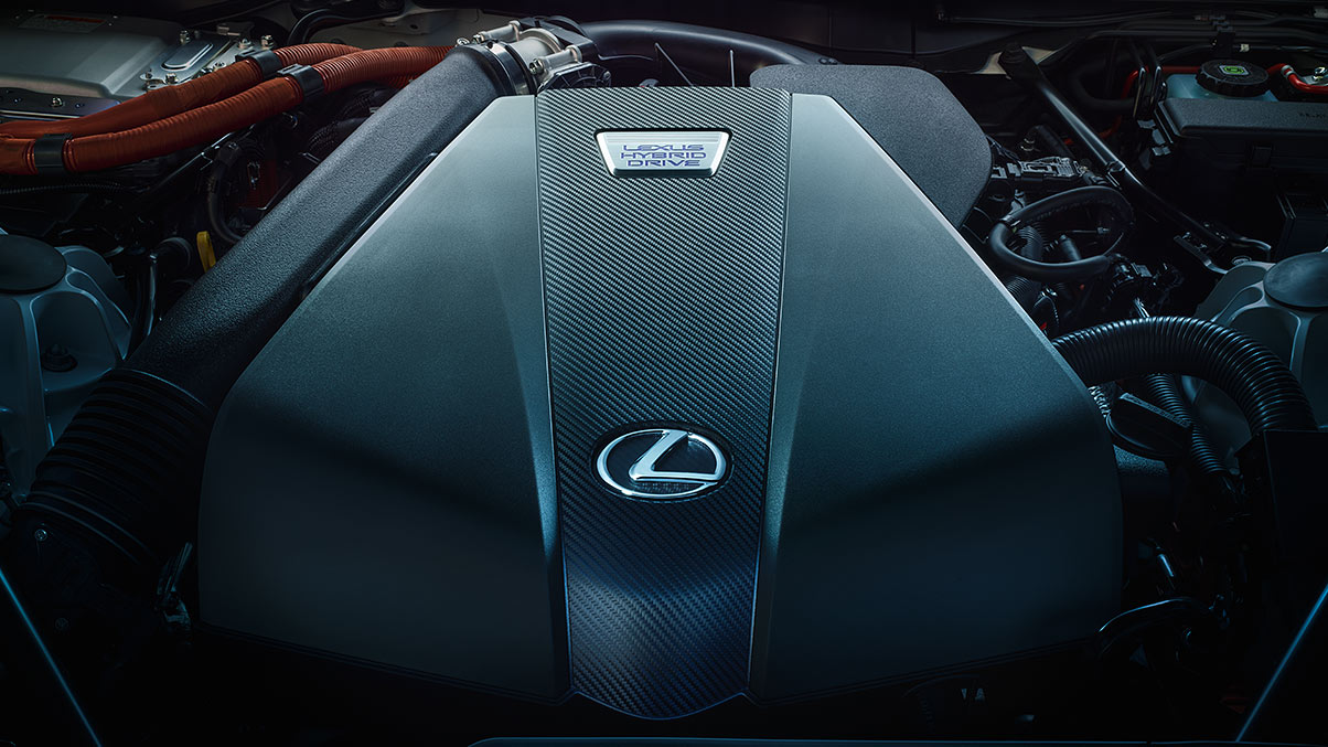 Detail shot of the Lexus LC 500h Lexus Multistage Hybrid Drive.