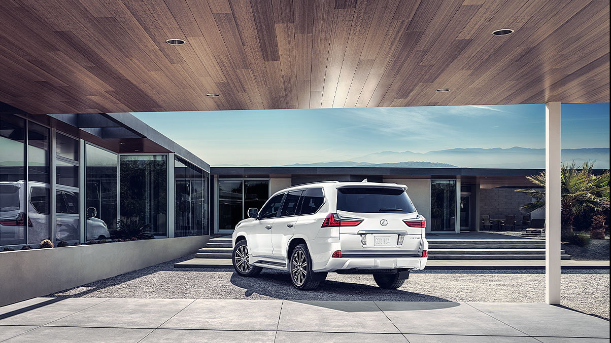 Exterior shot of the 2019 Lexus LX in Eminent White Pearl.