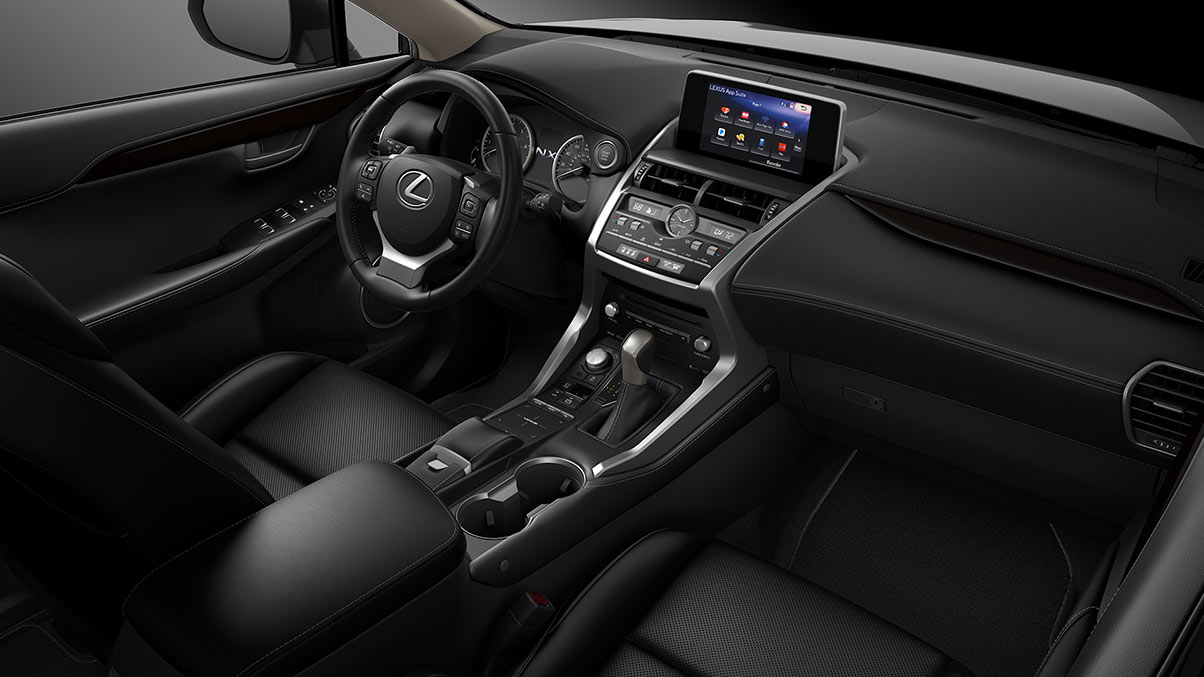Interior shot of the 2019 Lexus NX shown with Black NuLuxe trim
