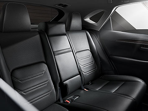Interior shot of the 2019 Lexus NX Hybrid shown with available Black leather trim.