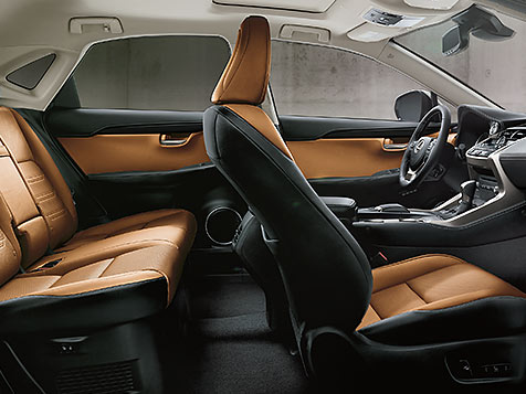 Interior shot of the 2018 Lexus NX shown in Glazed Caramel NuLuxe