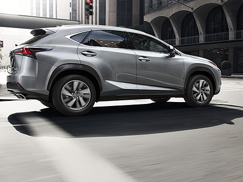 Exterior shot of the 2019 Lexus NX shown in Silver Lining Metallic