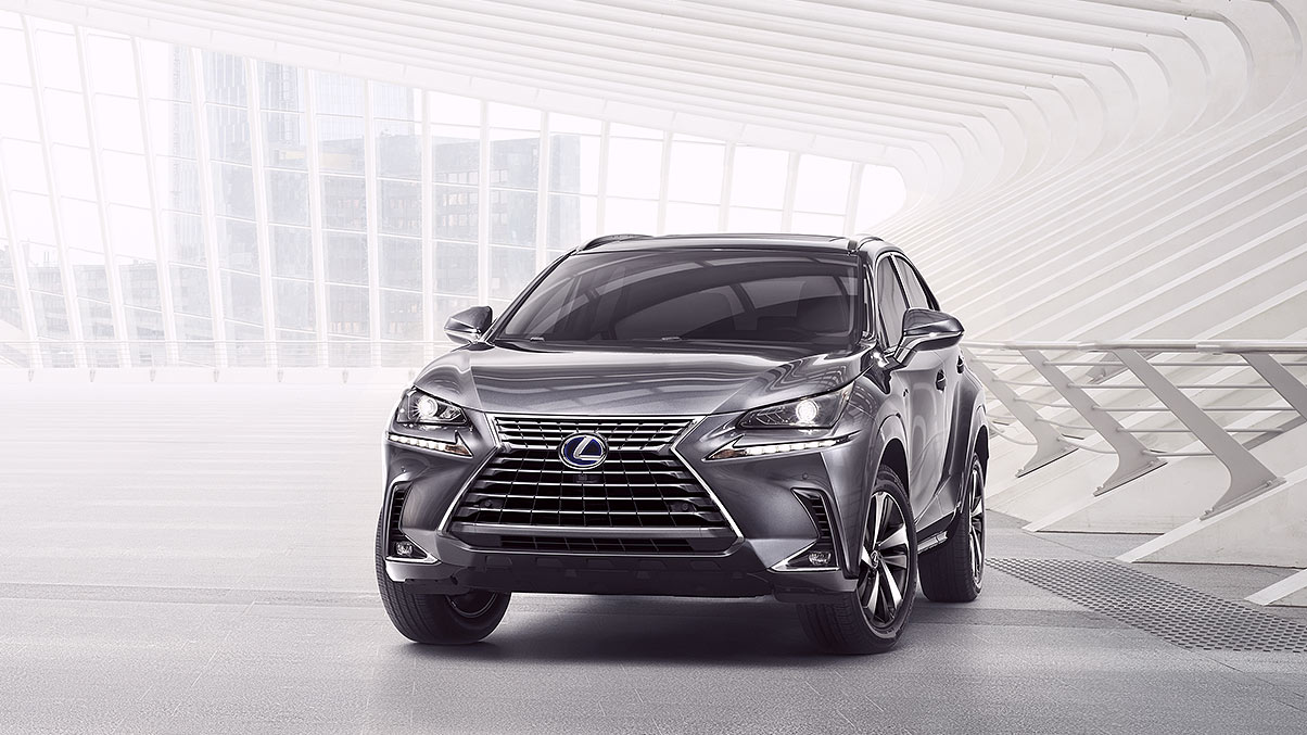 Exterior shot of the 2019 Lexus NX Hybrid shown in Nebula Gray Pearl