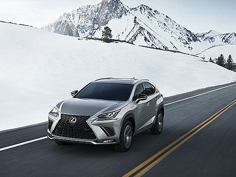 Exterior shot of the 2019 Lexus NX F SPORT shown in Atomic Silver