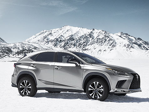 Exterior shot of the 2019 Lexus NX F SPORT shown in Atomic Silver.