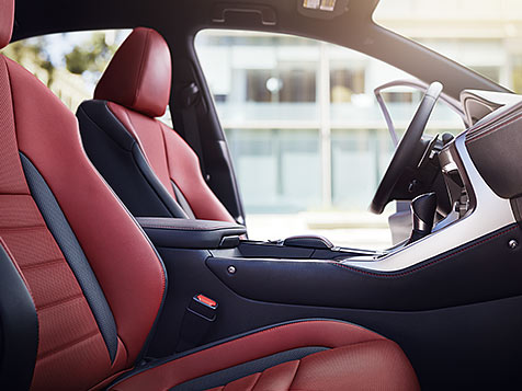 Interior shot of the 2018 Lexus NX F SPORT shown with Circuit Red NuLuxe trim