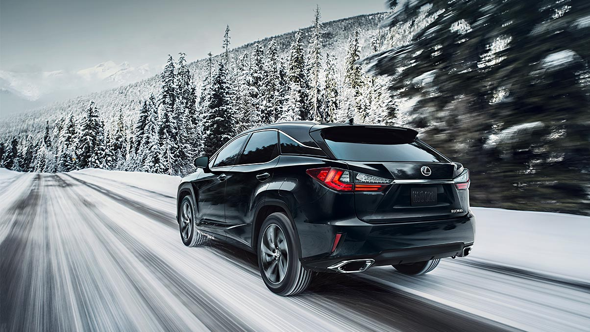 Exterior shot of the 2019 Lexus RX shown in Caviar
