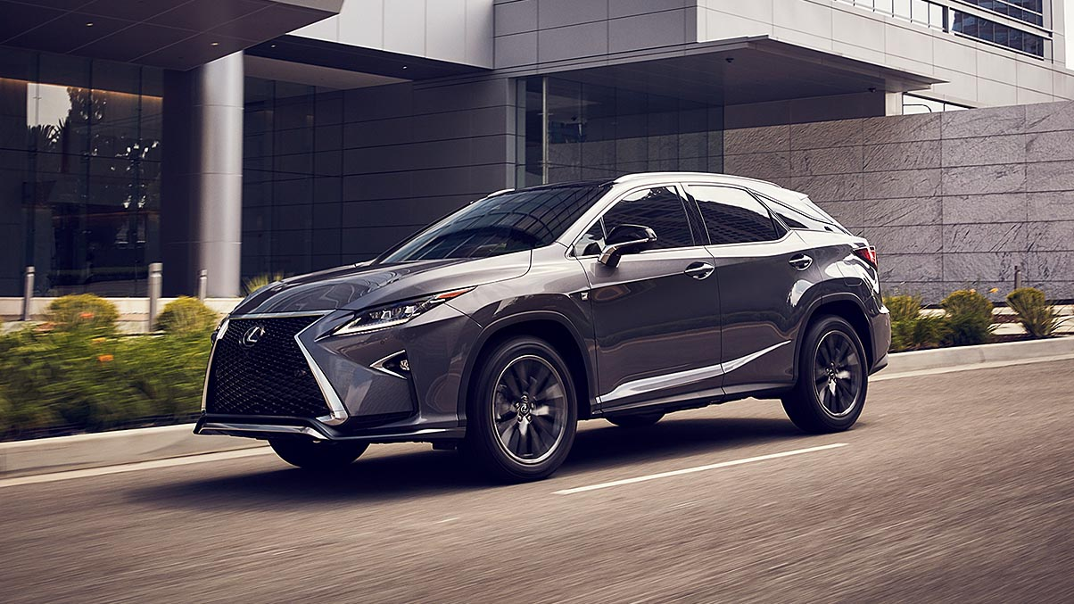 Exterior shot of the 2019 Lexus RX shown in Nebula Gray Pearl.