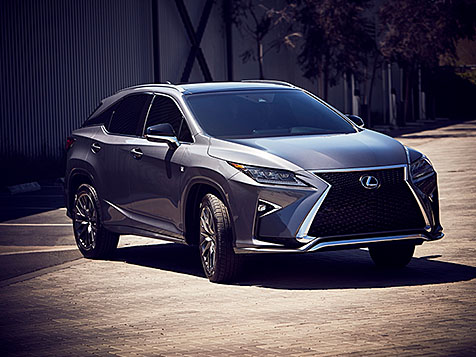 Exterior shot of the 2019 Lexus RX F SPORT shown in Nebula Gray Pearl.