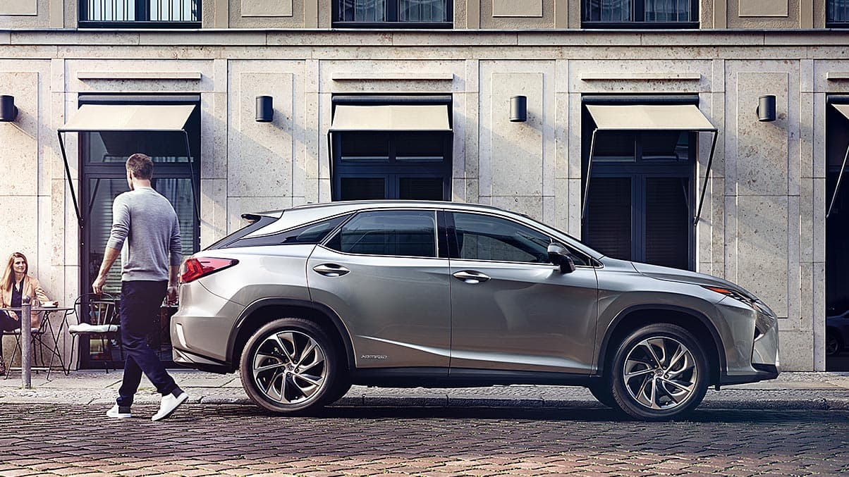 Exterior shot of the 2019 Lexus RX Hybrid shown in Atomic Silver.