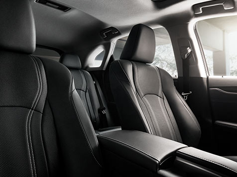 Interior shot of the 2019 Lexus RX shown with available Black leather trim