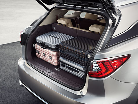 The 2019 Lexus RXL features a rear power door. The door is open, revealing four large suitcases that fit comfortably in the ample RXL rear cargo space.