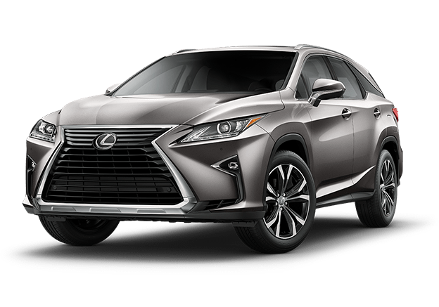New 2019 Lexus RXL luxury SUV in Atomic Silver against a black background.