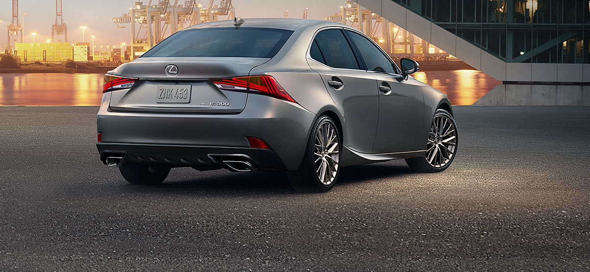Exterior shot of the 2018 Lexus IS 300 shown in Silver Lining Metallic.