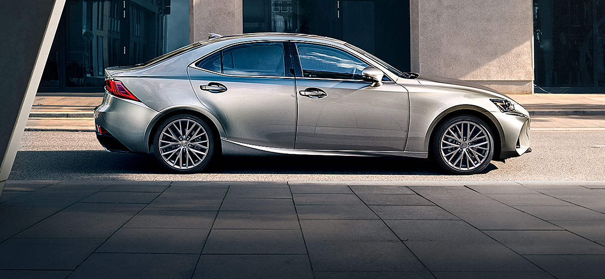 Exterior shot of the 2018 Lexus IS shown in Atomic Silver.
