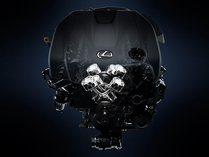 Illustration showing the Lexus IS engine.
